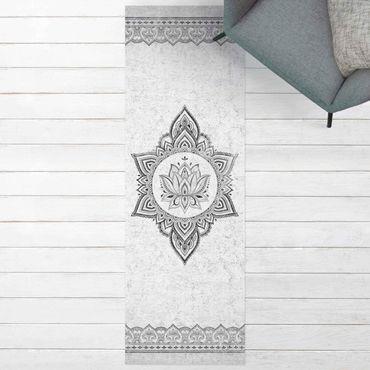 Vinyl-Teppich - Mandala Lotus Betonoptik - Panorama Hoch 1:3