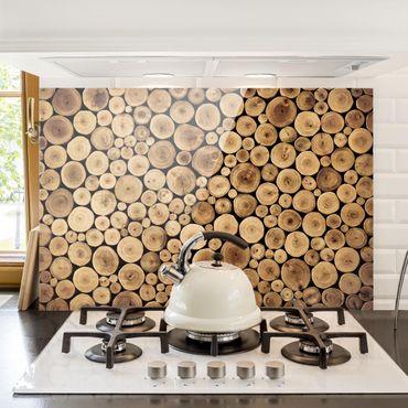 Spritzschutz Glas - Homey Firewood - Querformat - 3:2