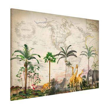 Magnettafel - Vintage Collage - Tierwelt auf Weltkarte - Memoboard Querformat 3:4