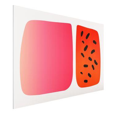 Forex Fine Art Print - Abstrakte Formen - Melone und Rosa - Querformat 2:3