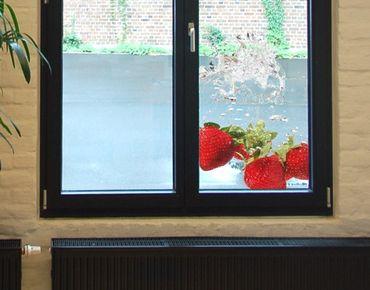 Fensterfolie - Sichtschutz Fenster Strawberry Water - Fensterbilder