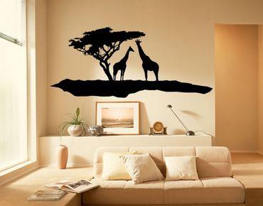 Wandtattoo Baum Giraffe No.TM5 Zwei Giraffen
