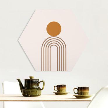 Hexagon Bild Forex - Line Art Kreis und Linien Kupfer
