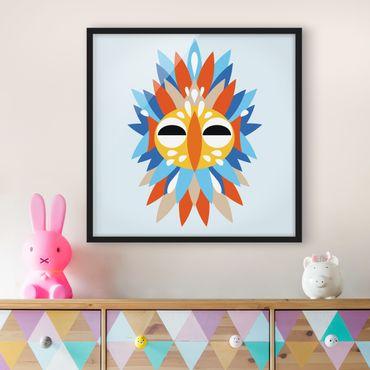 Bild mit Rahmen - Collage Ethno Maske - Papagei - Quadrat 1:1
