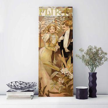 Glasbild - Alfons Mucha - Werbeplakat für Flirt Biscuits - Panel