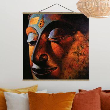 Stoffbild mit Posterleisten - Bombay Buddha - Quadrat 1:1