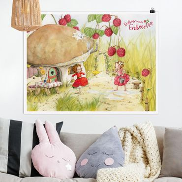 Poster - Erdbeerinchen Erdbeerfee - Unter dem Himbeerstrauch - Querformat 3:4