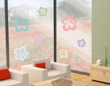 Fensterfolie - Fenstersticker No.TM114 Hibiskus I - Fensterbilder