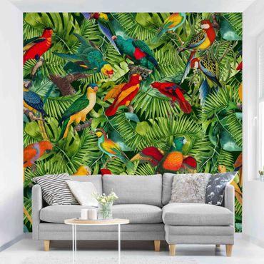 Tapete selbstklebend - Bunte Collage - Papageien im Dschungel - Fototapete Quadrat
