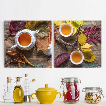 Leinwandbild 2-teilig - Tee im September - Quadrate 1:1