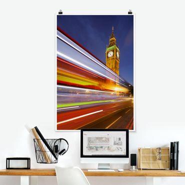 Poster - Verkehr In London am Big Ben bei Nacht - Hochformat 3:2