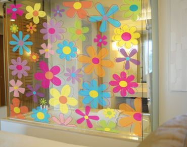 Fensterfolie - Fenstersticker - No.172 Retro Blumen - Fensterbilder Frühling