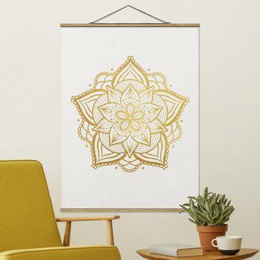 Stoffbild mit Posterleisten - Mandala Blüte Sonne Illustration Set Gold - Hochformat 3:4