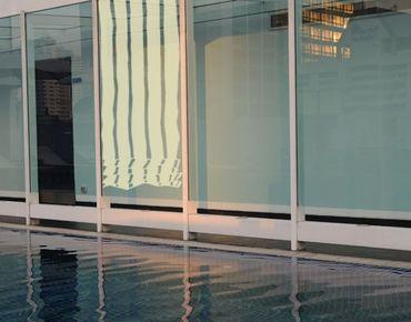 Fensterfolie - Sichtschutzfolie No.UL469 Raffrollo Blockstreifen - Milchglasfolie