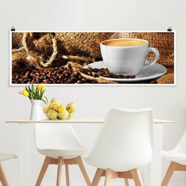 Poster - Kaffee am Morgen - Panorama Querformat