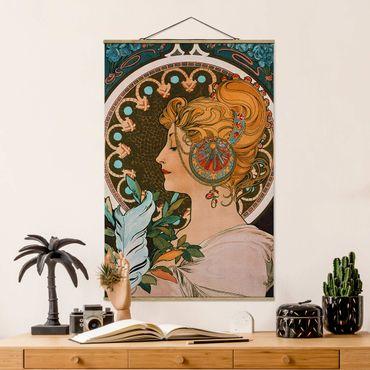 Stoffbild mit Posterleisten - Alfons Mucha - Die Feder - Hochformat 2:3