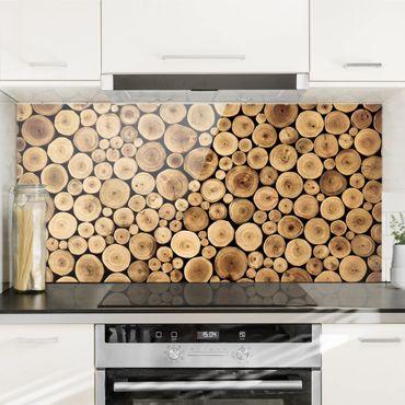 Spritzschutz Glas - Homey Firewood - Querformat - 2:1