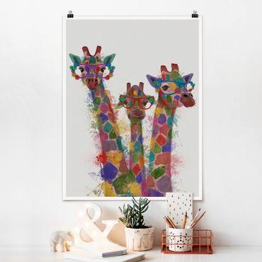 Poster - Regenbogen Splash Giraffen-Trio - Hochformat 3:4