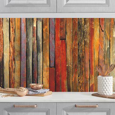 Küchenrückwand - Bretterstapel