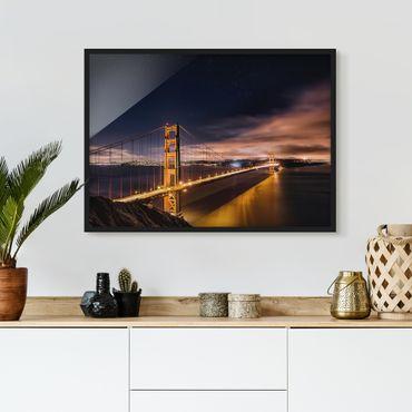 Bild mit Rahmen - Golden Gate to Stars - Querformat 3:4