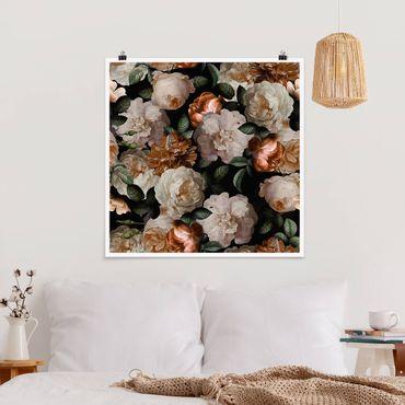 Poster - Rote Rosen mit Weißen Rosen - Quadrat 1:1