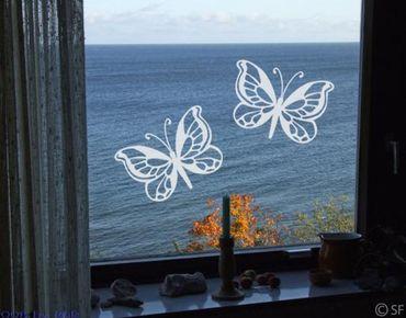 Fensterfolie - Fenstertattoo - Fensterdeko - No.SF869 Schmetterlingsduo - Fensterbilder Frühling