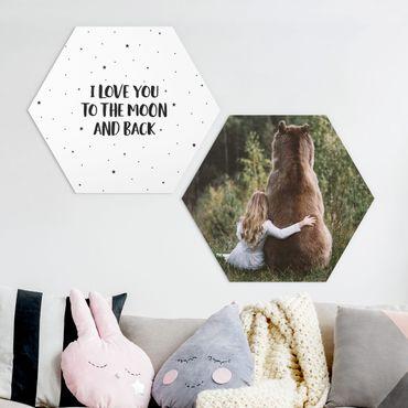 Hexagon Bild Alu-Dibond 2-teilig - Mädchen mit Braunbär - I love you