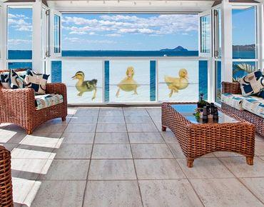 Fensterfolie - Sichtschutz Fenster Drei kleine Entlein Trio - Fensterbilder