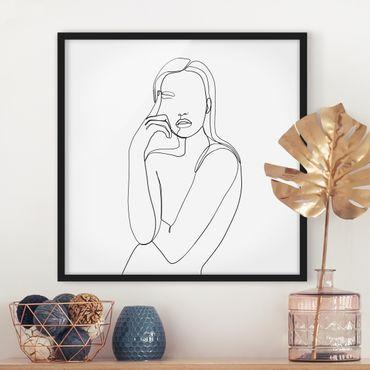 Bild mit Rahmen - Line Art Nachdenkliche Frau Schwarz Weiß - Quadrat 1:1