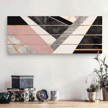 Holzbild - Elisabeth Fredriksson - Schwarz Weiß Geometrie mit Gold - Querformat 2:5