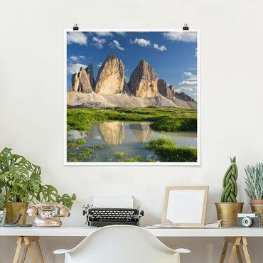 Poster - Südtiroler Zinnen und Wasserspiegelung - Quadrat 1:1