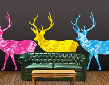 Wandtattoo No.408 Three Decostyle Deers Set CMYK