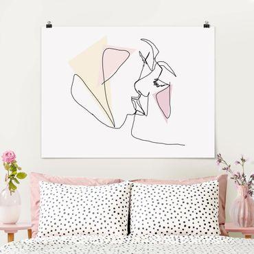 Poster - Kuss Gesichter Line Art - Querformat 3:4