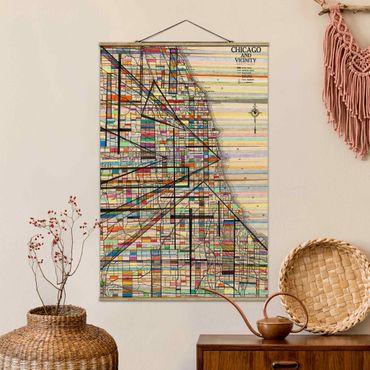 Stoffbild mit Posterleisten - Moderne Karte von Chicago - Hochformat 3:2
