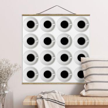 Stoffbild mit Posterleisten - Kaffeehaus - Quadrat 1:1