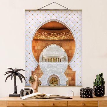 Stoffbild mit Posterleisten - Tor der Moschee - Hochformat 4:3