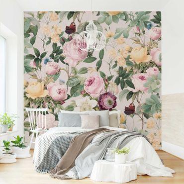Fototapete - Vintage Blumen Illustration XXL - Fototapete Breit