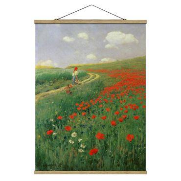 Stoffbild mit Posterleisten - Pál Szinyei-Merse - Sommerlandschaft mit blühendem Mohn - Hochformat 3:4