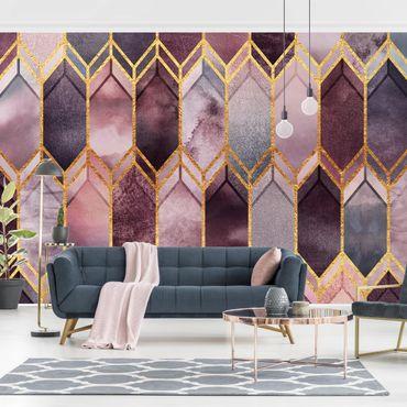 Fototapete - Glasmalerei geometrisch Rosé Gold - Fototapete Quadrat