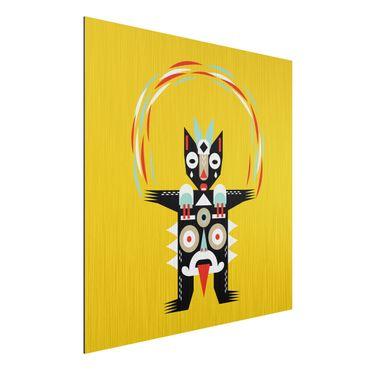 Aluminium Print gebürstet - Collage Ethno Monster - Jongleur - Quadrat 1:1