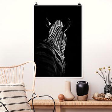 Poster - Dunkle Zebra Silhouette - Hochformat 3:2
