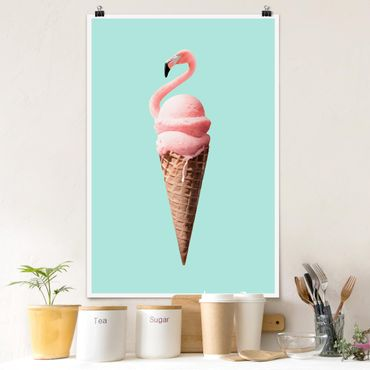 Poster - Jonas Loose - Eis mit Flamingo - Hochformat 3:2