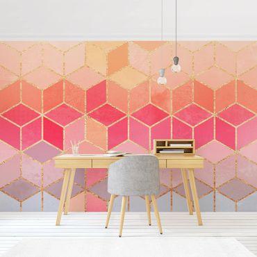 Fototapete - Buntes Pastell goldene Geometrie - Fototapete Breit