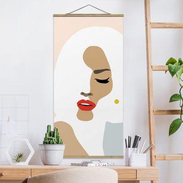Stoffbild mit Posterleisten - Line Art Portrait Frau Pastell Beige - Hochformat 1:2