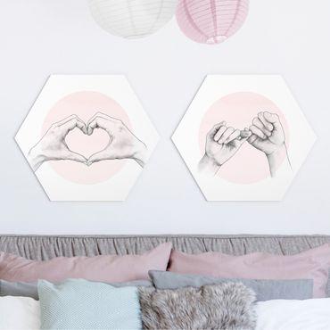 Hexagon Bild Alu-Dibond 2-teilig - Laura Graves - Handzeichnungen auf Rosa