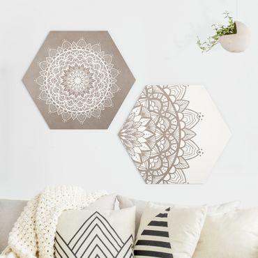 Hexagon Bild Alu-Dibond 2-teilig - Mandala Illustration shabby Set beige weiß