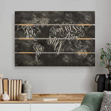 Holzbild - Kreide Weltkarte - Querformat 2:3