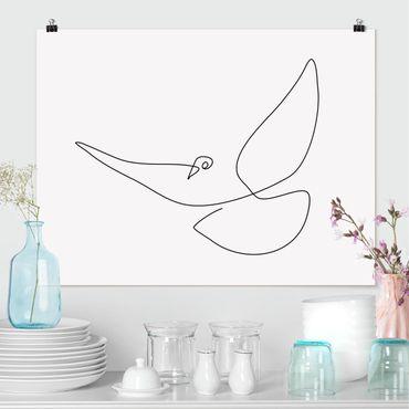 Poster - Taube Line Art - Querformat 3:4