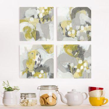 Leinwandbild 4-teilig - Zitronen im Nebel Set II