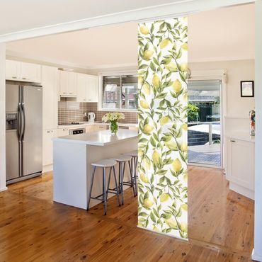 Schiebegardinen Set - Fruchtige Zitronen mit Blättern - 6 Flächenvorhänge